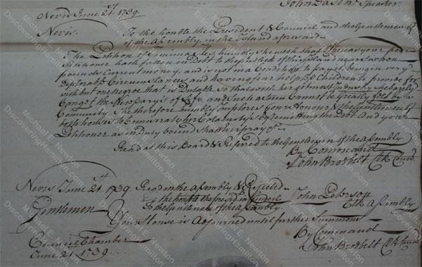 Jemima Faucett Iles petition, Nevis, Jun 21, 1739