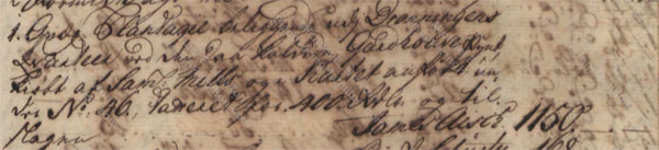 James Ash purchases No. 46 Queens Quarter, June 1750