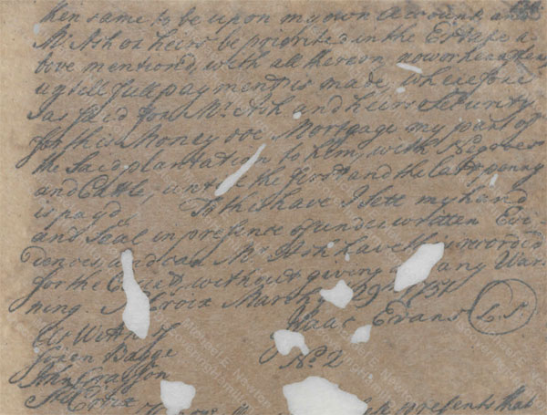 Isaac Evans mortgage to James Ash, March 29, 1751