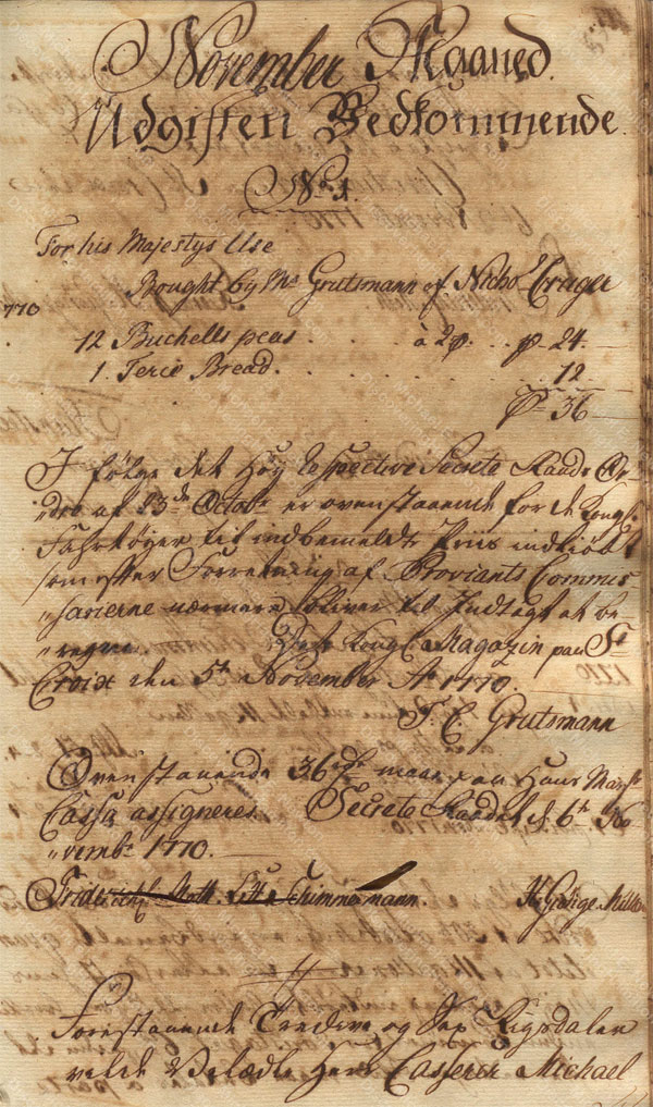 Alexander Hamilton receiving payment from St. Croix Privy Council for Nicholas Cruger, November 1770