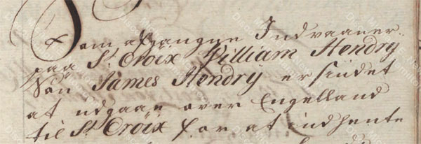 James Hendrie, son of William Hendrie, December 1749