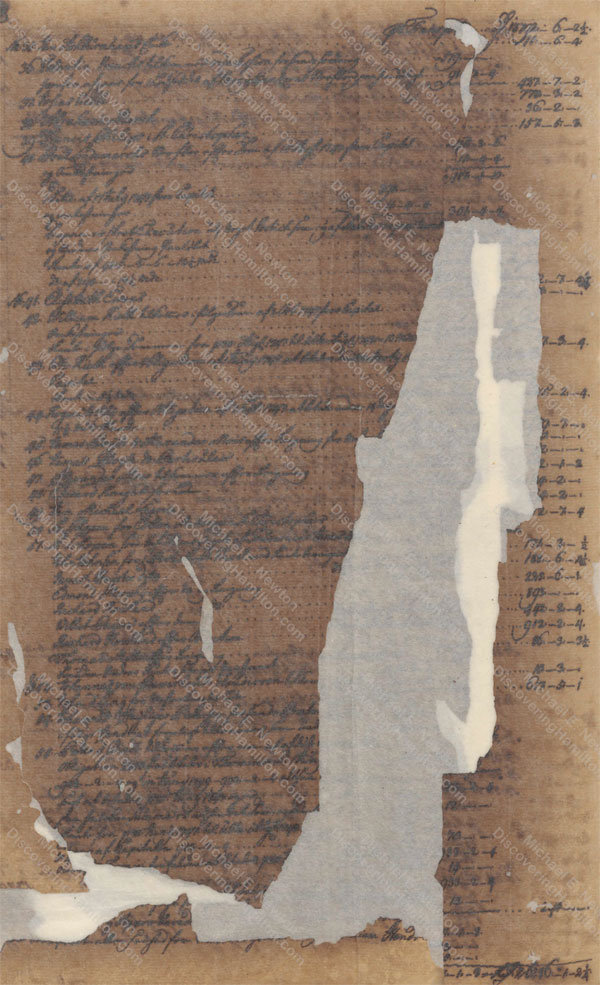 William Hendrie of St. Croix, probate record, damaged page
