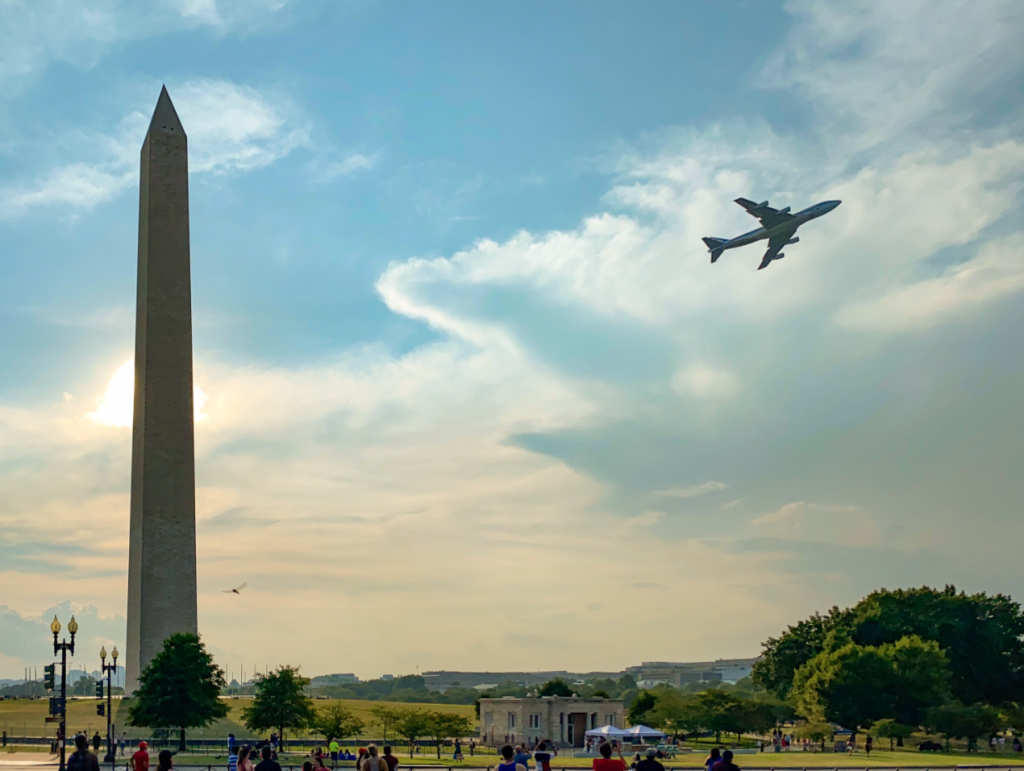 Air Force One flies over the National Mall as part of Trump's Salute to America