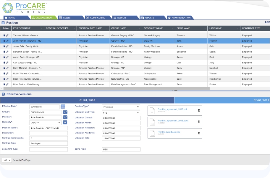 ProCARE Portal - physician and provider compensation management software
