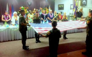 Young Marines at Hesperia Elks Lodge Folding Flag During the President's Visit to Inland District