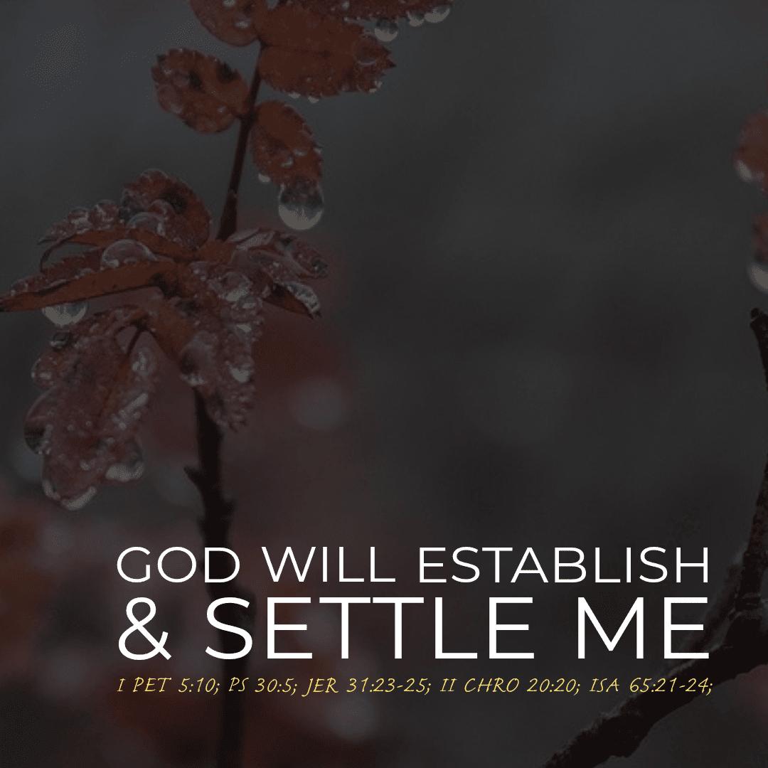 God Will Establish And Settle Me SCRIPTURE READING: I PET 5:10; PS 30:5; JER 31:23-25; II CHRO 20:20; ISA 65:21-24;