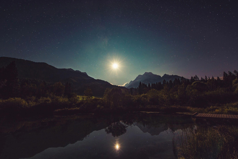 Moon in landscape