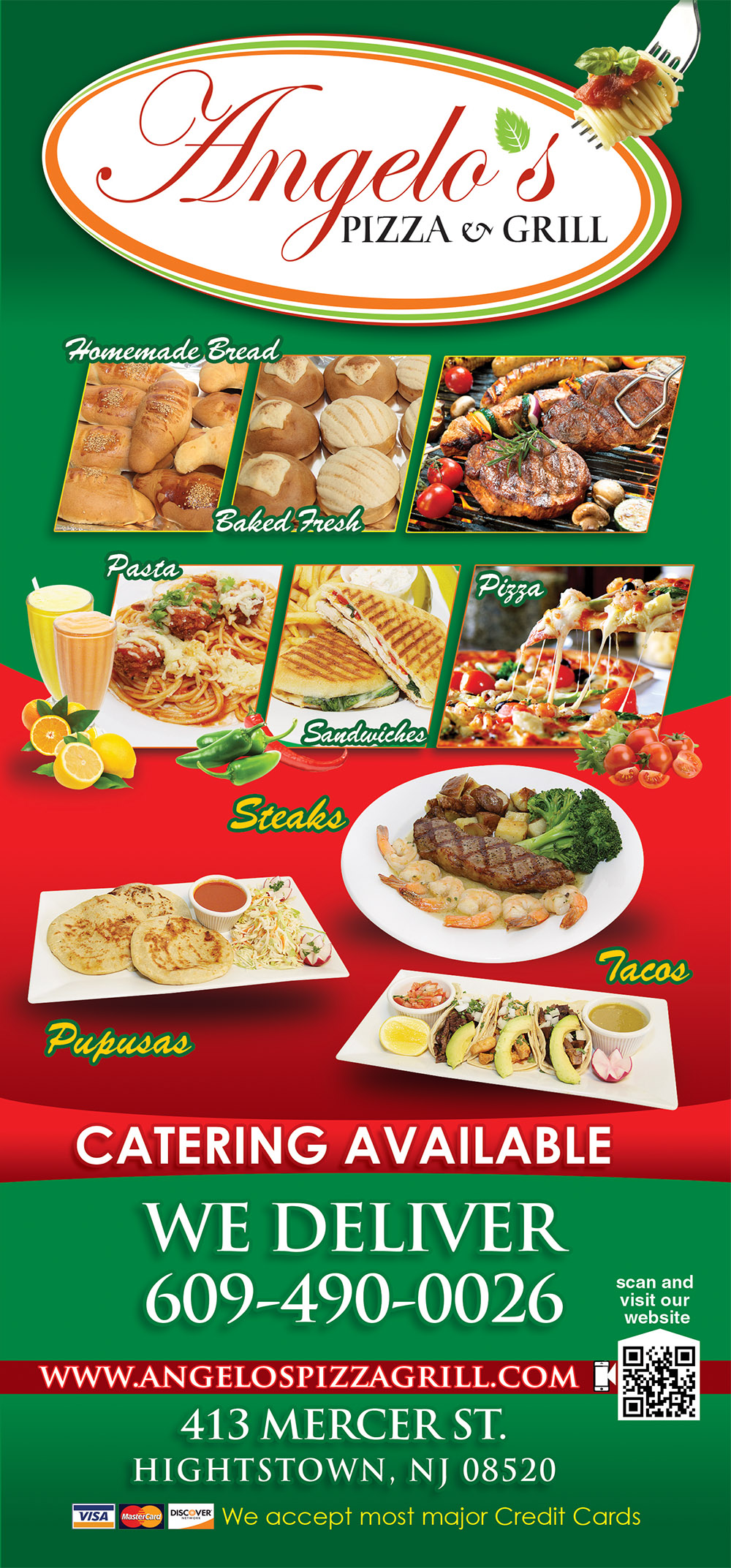 Angelo's Pizza Menu Frontpage