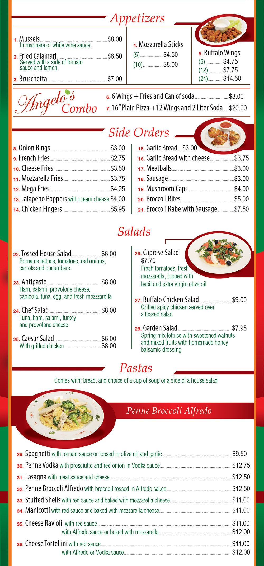 Angelo's Pizza Menu Page 2