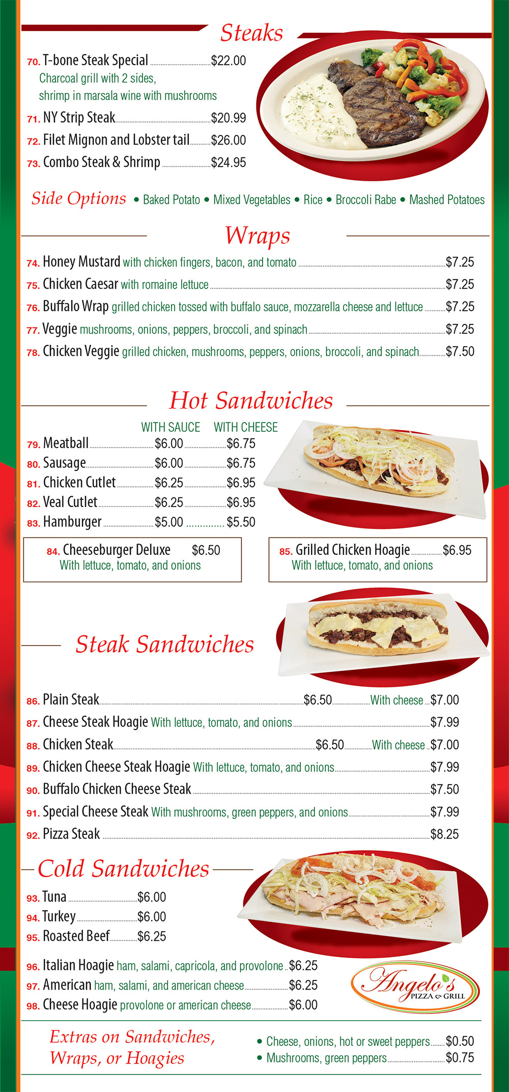 Angelo's Pizza Menu Page 4