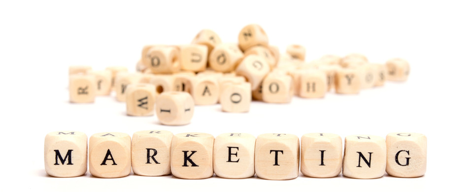 word with dice on white background- marketing