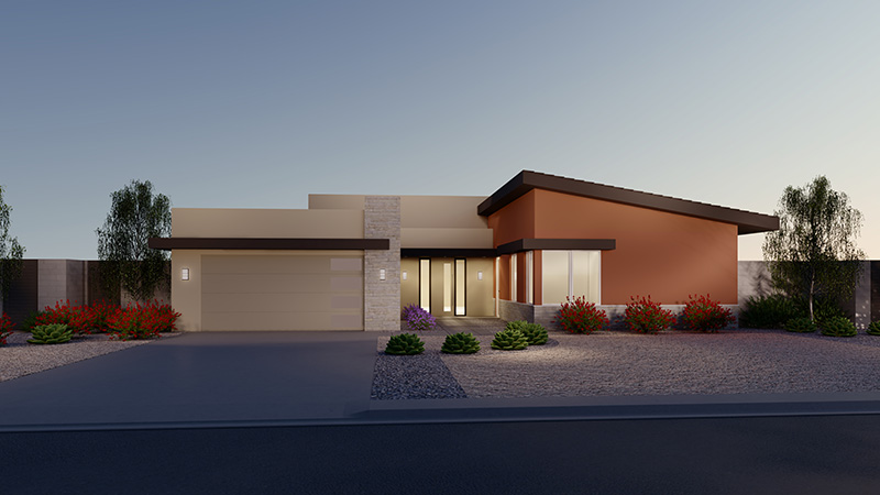 Rendering of Elevation 1A
