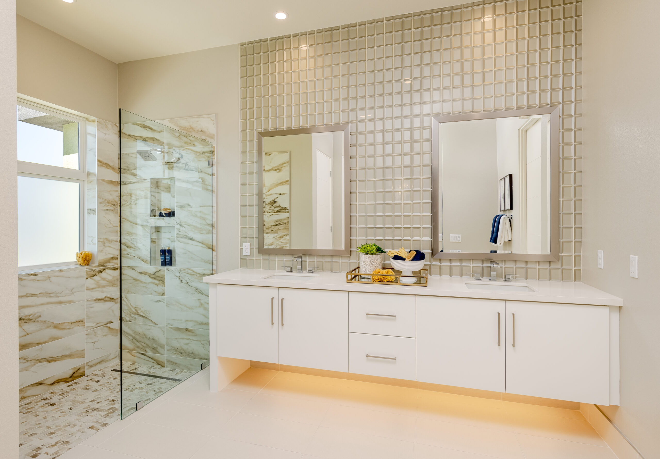 Residence 2: Primary bathroom with walk-in shower and dual vanity