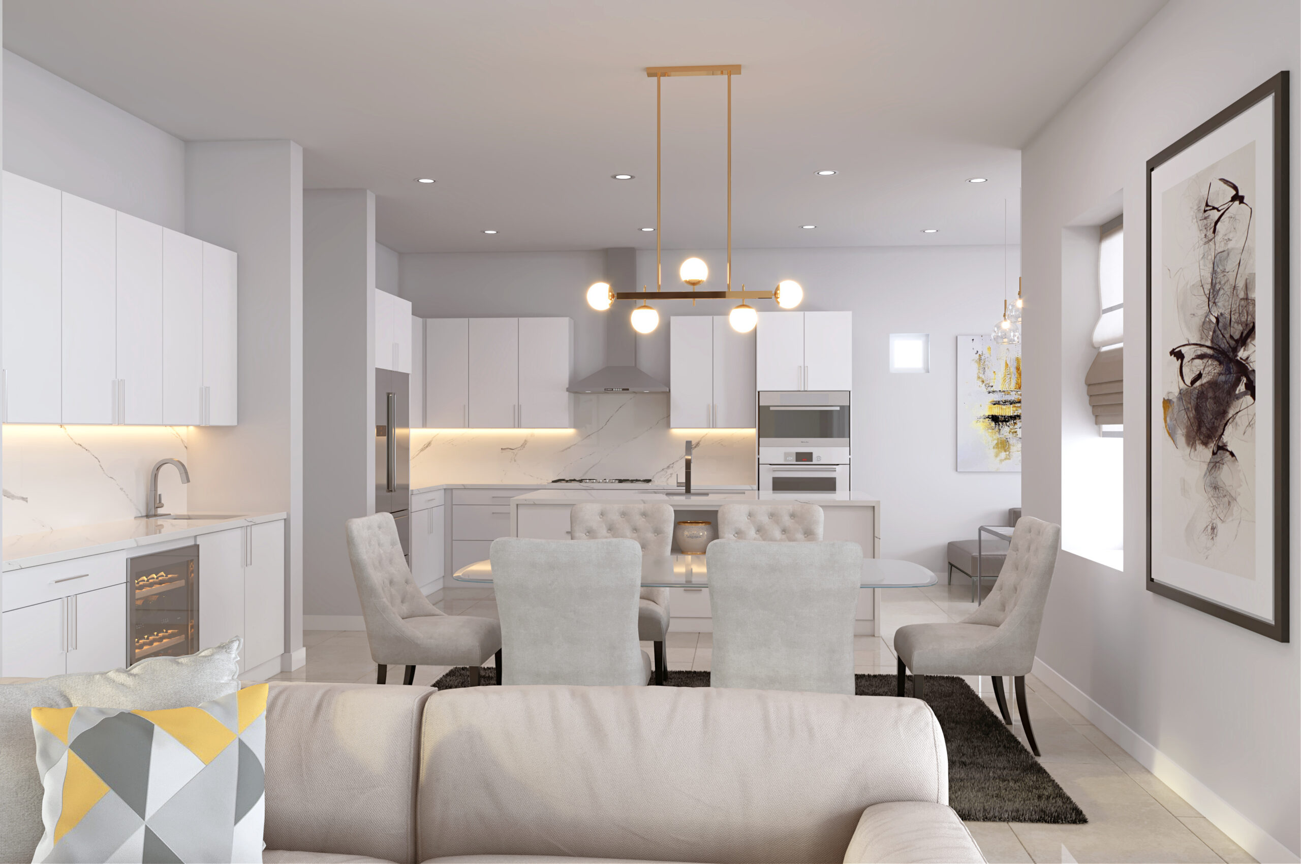 Plan 1: Dining and Kitchen White Cab