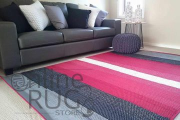 These machine Modern Grey Black White Red Striperugs are a hard wearing Polypropylene product that is durable, inexpensive, comes in a range of colours and designs and is easy to maintain.