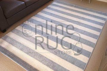 Grey Off White Stripe Rug