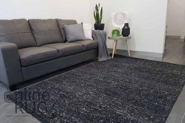 Essence Armani Multi Weave Charcoal Black Felted Wool Rug