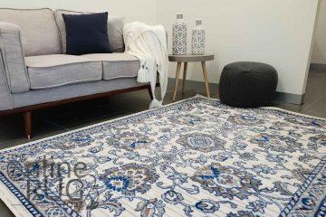 Austine Off White Blue Transitional Oriental Pattern Rug