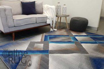 Austine Blue Grey Abstract Diamond Pattern Rug