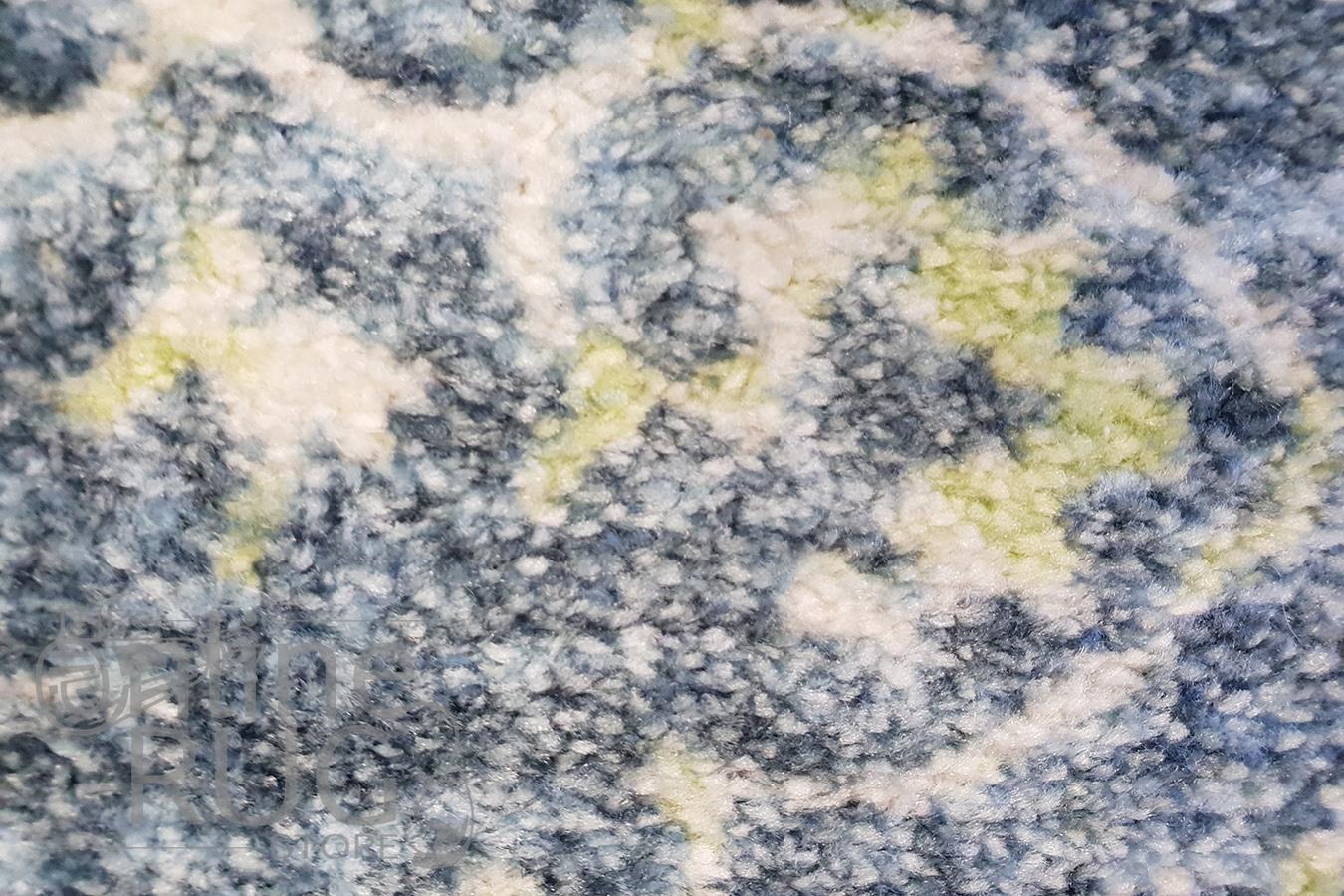 Metro Blue Flower Pattern Rug