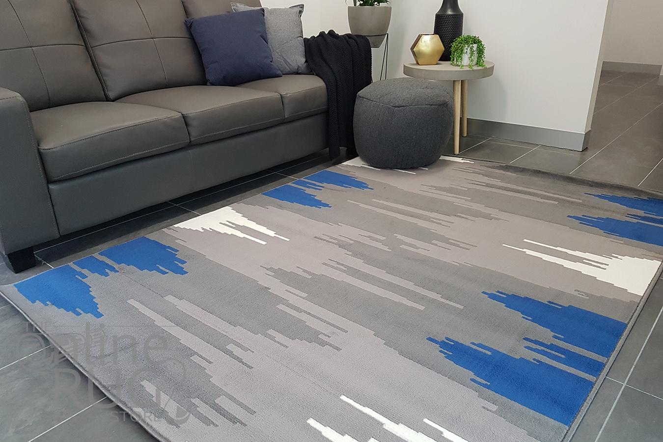 Industry Galaxy Blue Grey Lines Rug (1)