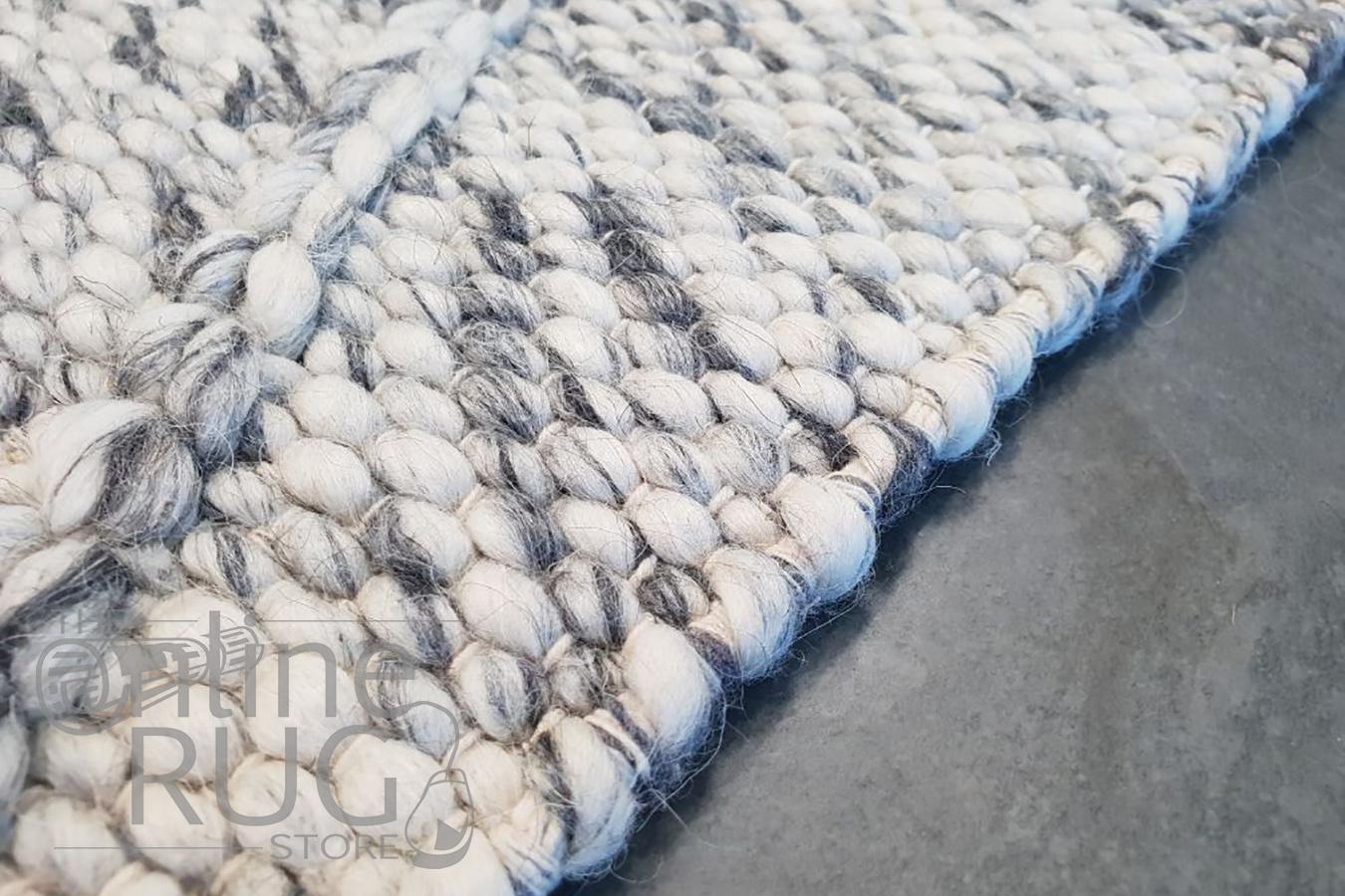 Darcy Diamond Grey Felted Wool Rug