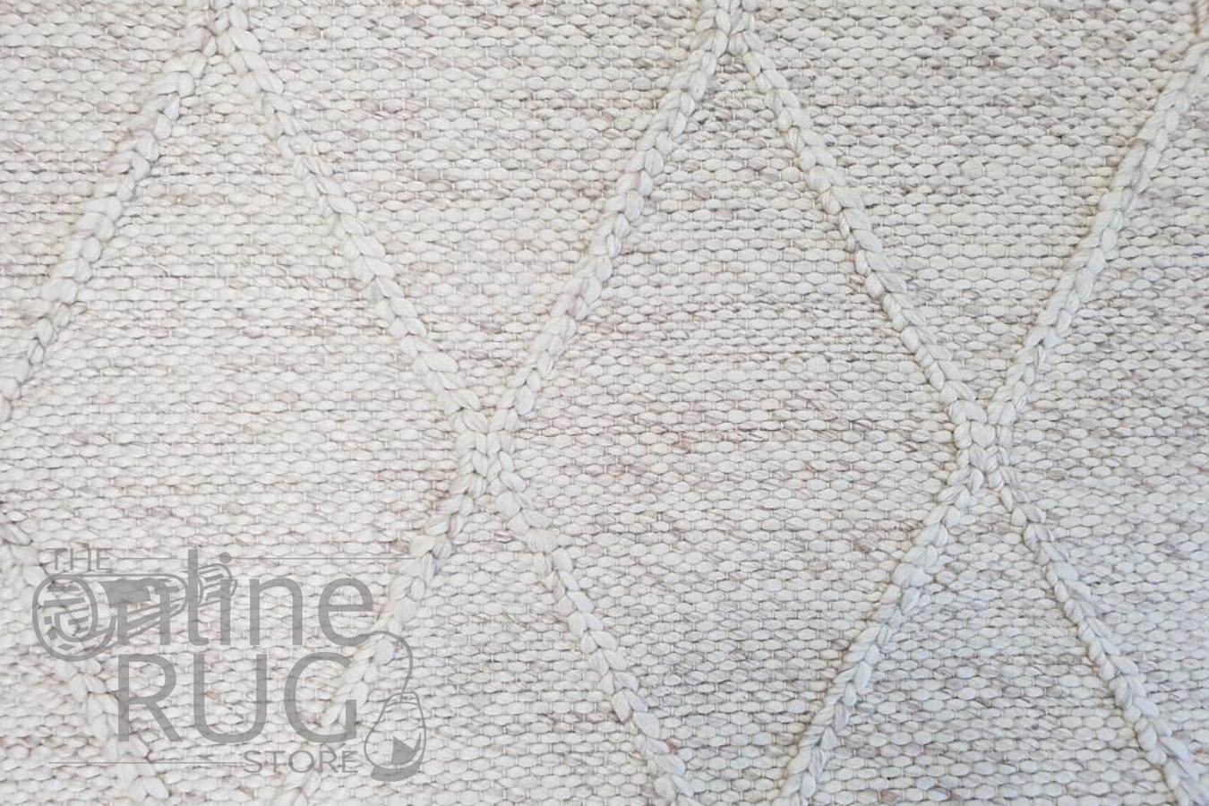 Darcy Diamond Light Grey Felted Wool Rug
