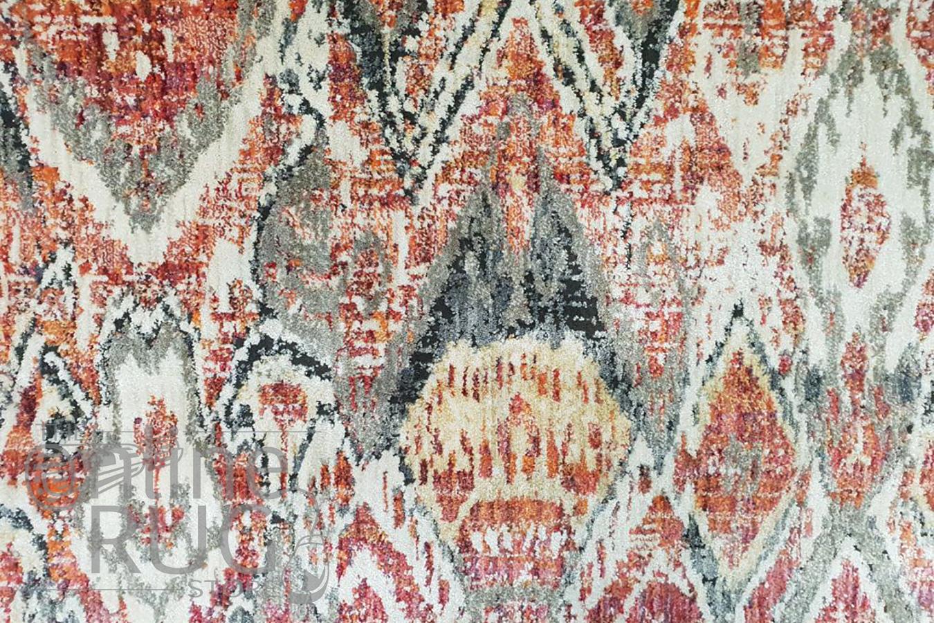 Bella Rust and Prints Distressed Vintage Rug