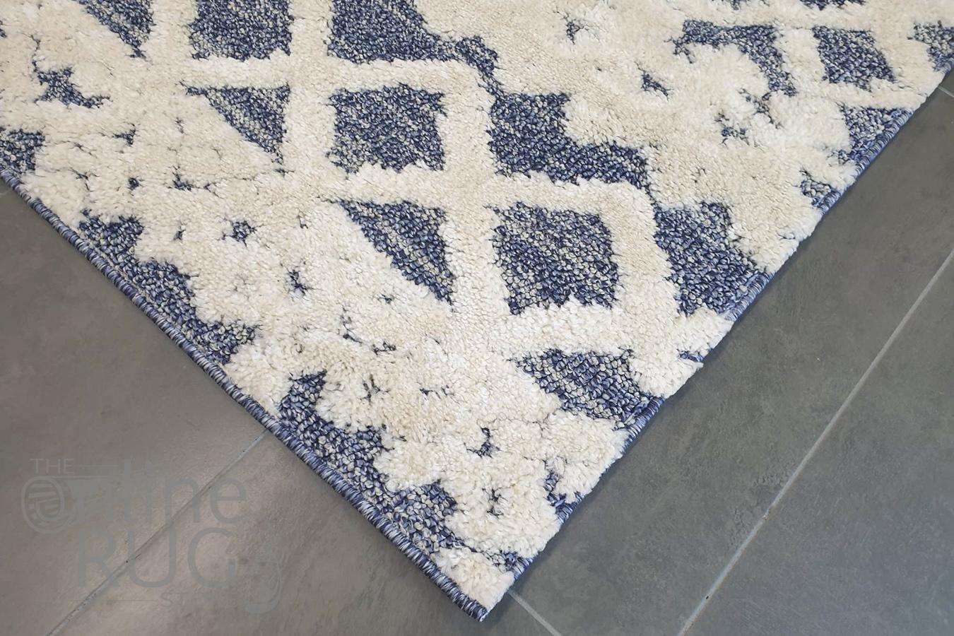 Chloe Ivory Blue Diamond Bohemian Textured Rug