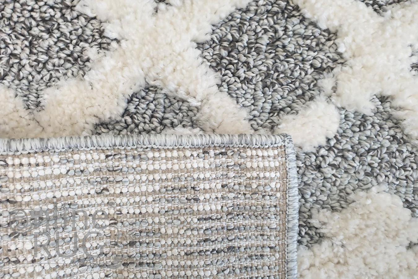 Chloe Ivory Light Grey Diamond Bohemian Rug