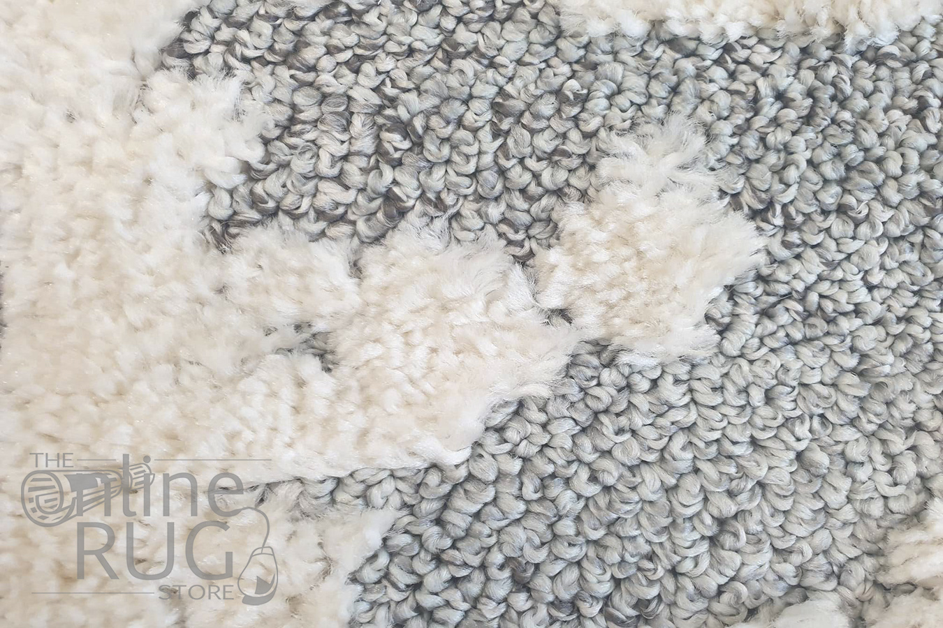 Chloe Ivory Grey Medallion Textured Rug