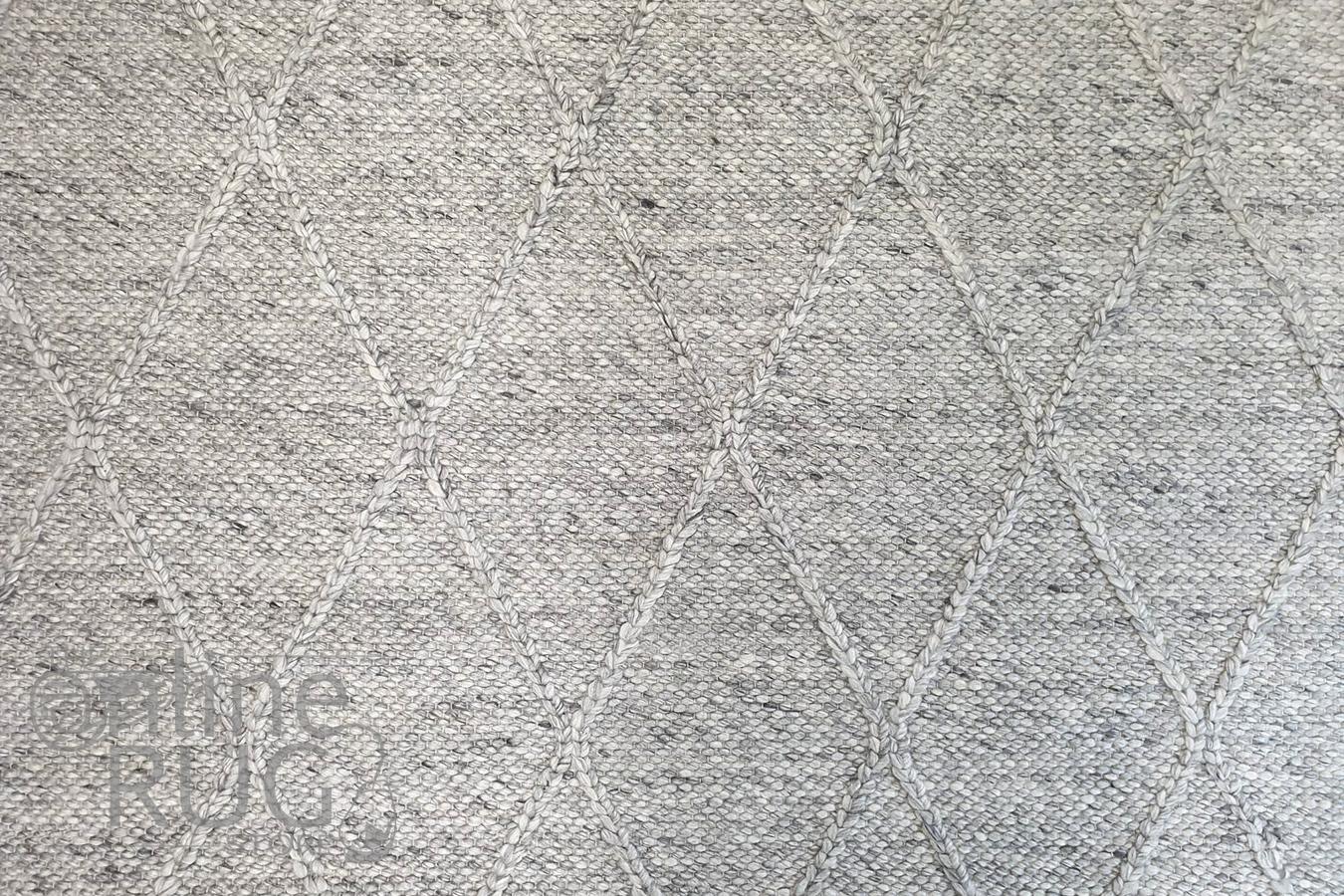 Darcy Diamond Beige Silver Felted Wool Rug