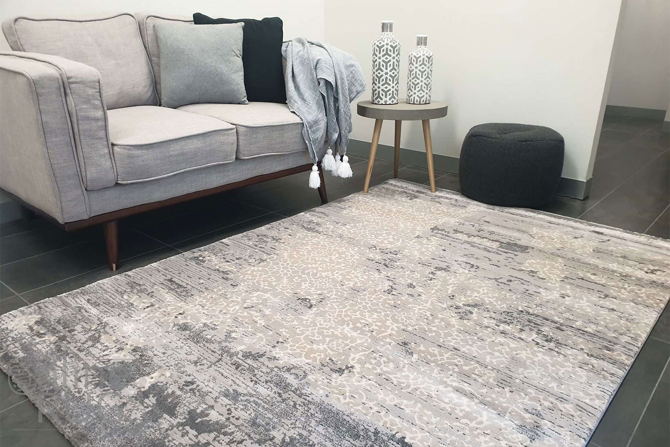 Thelma Grey Beige Faded Wash Abstract Floral Rug