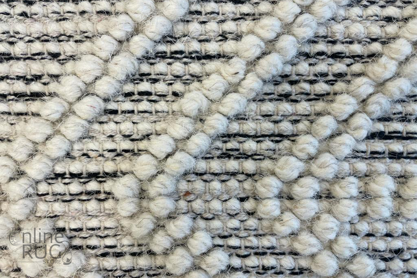Macey Ivory Black Ethnic Print Wool Rug