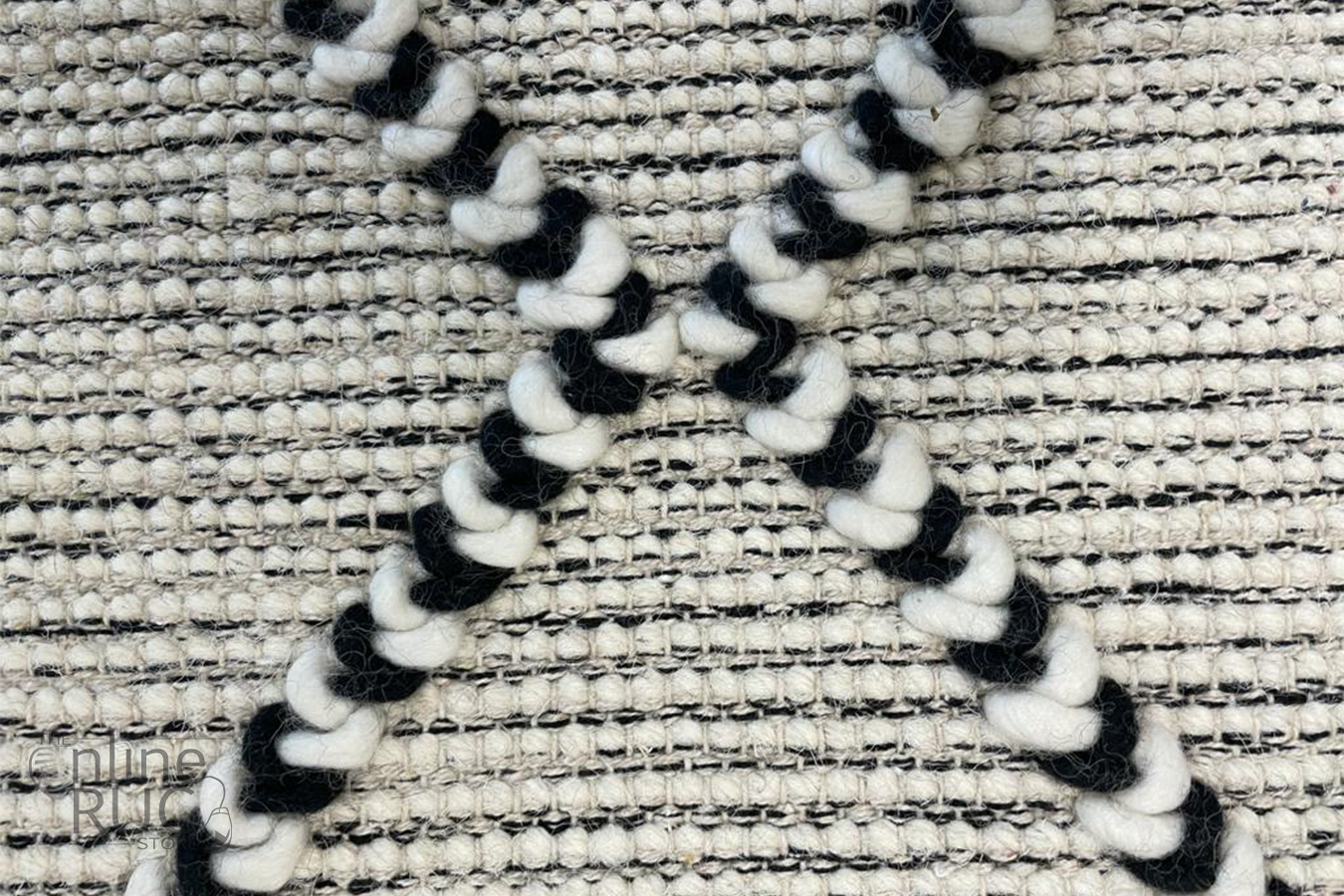 Macey Black Ivory Lattice Wool Rug