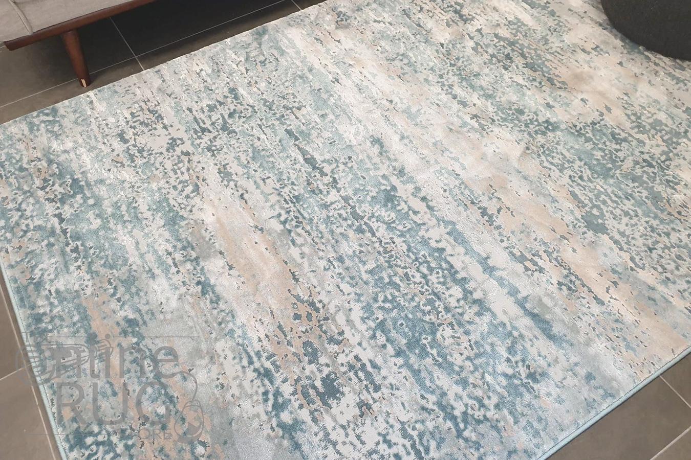 Opal Blue Cream Abstract Rug