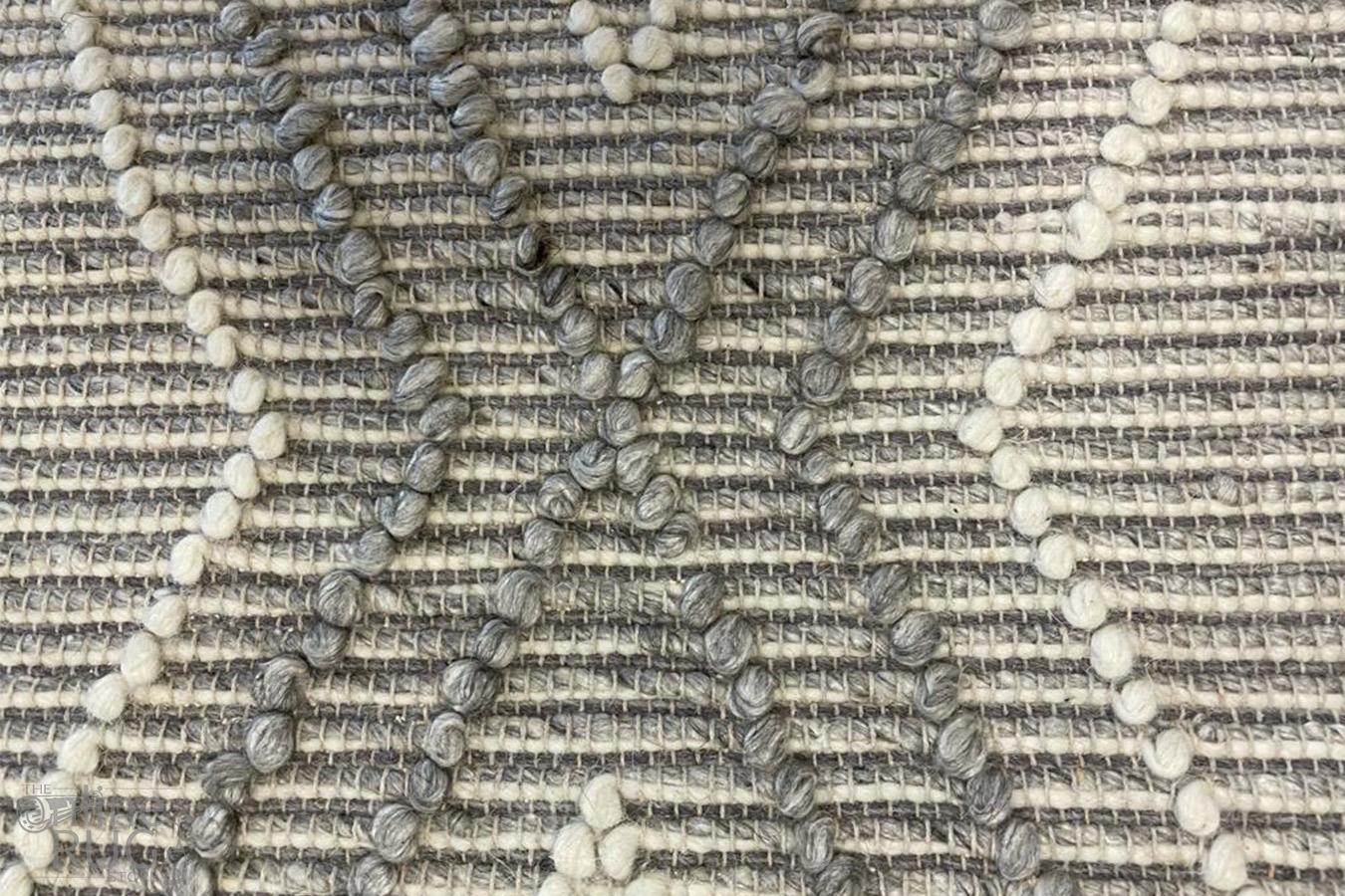Anika Silver Grey Diamond Trellis Wool Rug