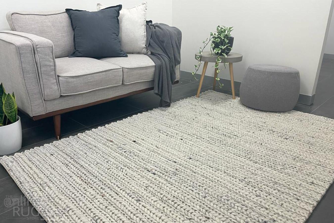 Olivia Natural Braided Pattern Wool Rug