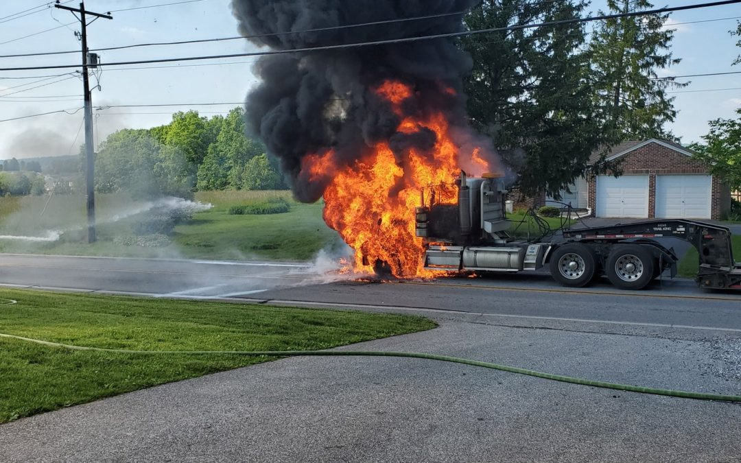 Tractor Trailer catches fire after fuel leak in Dover Township, York County