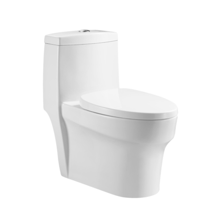 White Modern Design Elongated Toilet with Soft Closing Seat