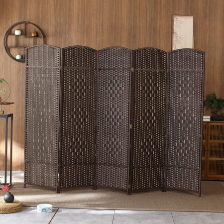 6-Panel Hand Woven Room Divider