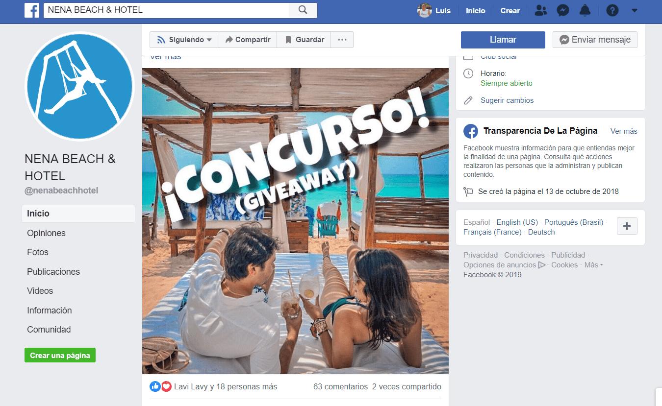 Estrategia de redes sociales Fan Page Nena Beach Resort