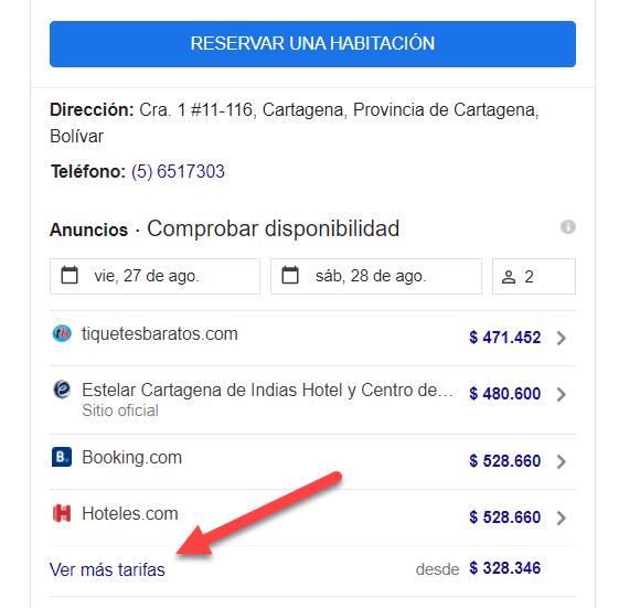 Opciones de tarifas de hotel en Google