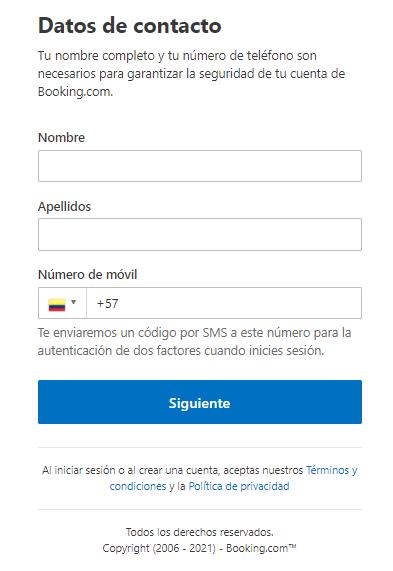 Como configurar mi usuario en Booking.com