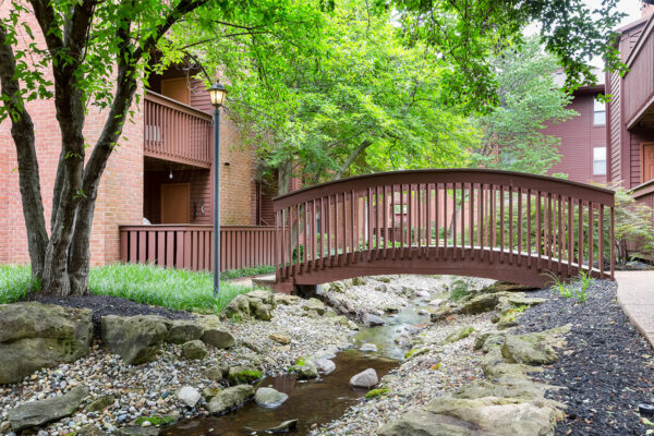 A bridge and a brooke at Chesterfield Village Apartments