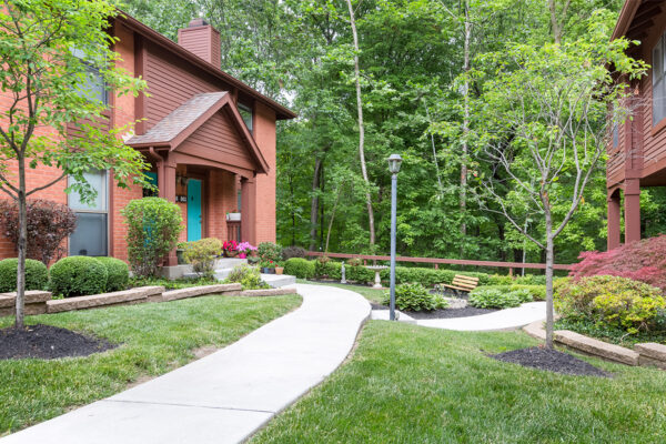 A path to a townhome at Chesterfield Village Apartments