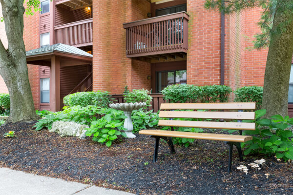 A bench and mushrooms at Chesterfield Village Apartments