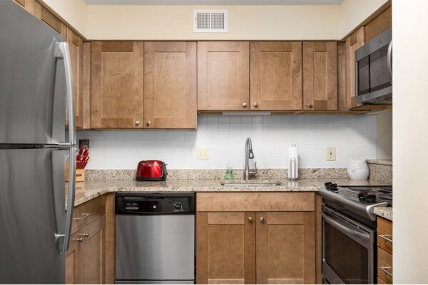 A marble kitchen countertop at Chesterfield Village Apartments