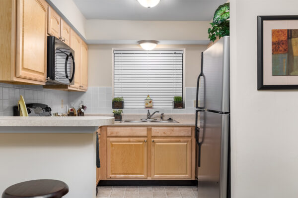 A view into the kitchen at Chesterfield Village Apartments