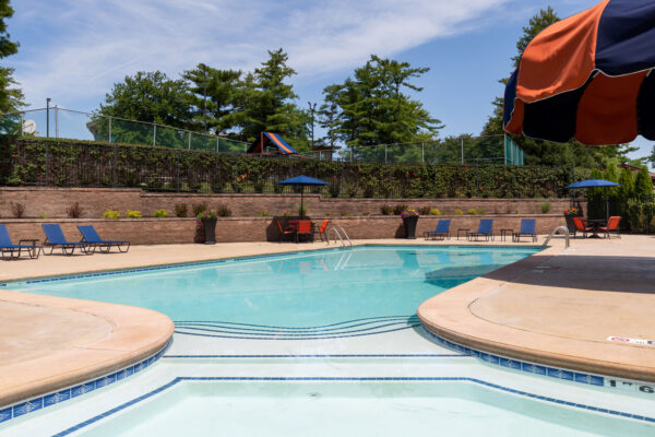 An entry to the pool view at Chesterfield Village Apartments
